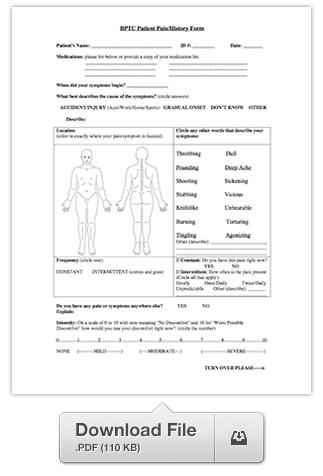 Patient Pain History Form