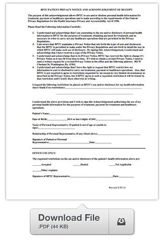 Patient Privacy Notice Form